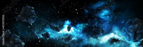 Fotografía Asteroids in space banner / Illustration horizontal space banner with asteroids