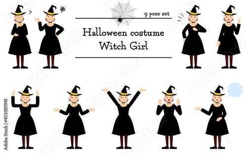 Fotografiet ハロウィンの仮装、魔女姿の女の子のポーズセット~話す・悩む・指さし・他~