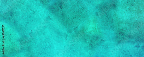 abstract paper turquoise blue concrete stone painting background texture with dim vibrant colors, old effect and space for text or image. can be used as header or banner background wallpaper