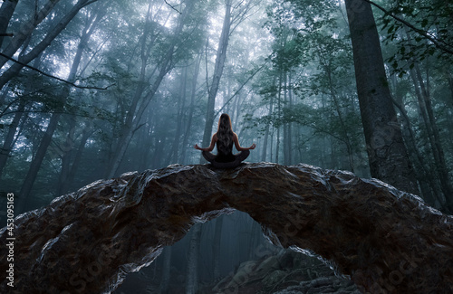 Fotografie, Tablou Woman meditating and observing the forest