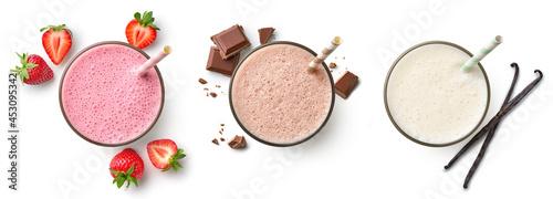 Leinwand Poster Set of fresh various delicious milkshakes or smoothies