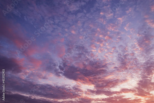 Amazing cloudscape on the sky at sunset time. Fototapeta
