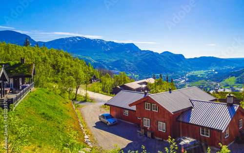 Beautiful panorama Norway Hemsedal Skicenter with Mountains cabin and huts Fototapet