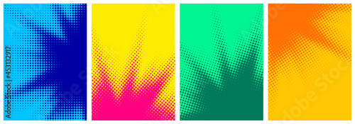 Fotografie, Obraz Set of abstract halftone colorful backgrounds..