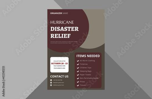 Valokuvatapetti disaster relief flyer design template