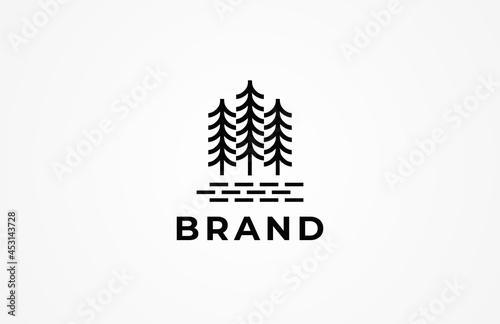 Fotografia Pine fir simple line vintage hipster logo design, vector lllustration