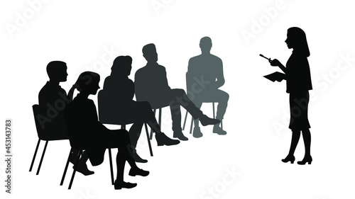 Fotografiet Business woman making presentation silhouette vector illustration isolated on white background