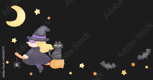 Fotografiet 色鉛筆手描き風 ハロウィン 空飛ぶほうきに乗った魔女イラスト