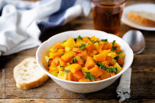 Fotografie, Obraz Pumpkin potato carrot stew in the bowl