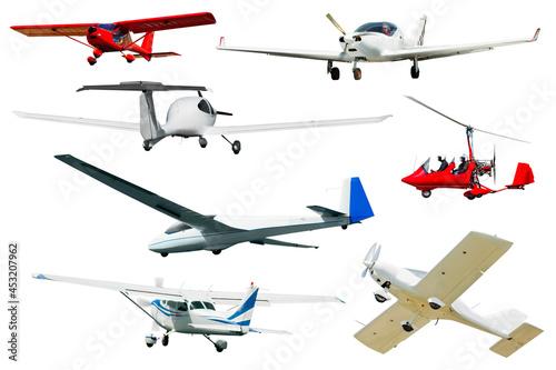 Tela Flying boats, sailplanes, light planes on white background