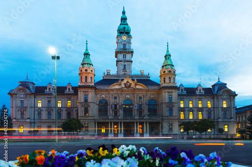 Cuadros en Lienzo Illuminated building of Gyor City Hall in twilight, Hungary