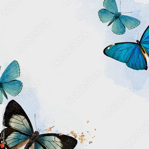 Blue butterflies patterned background vector Fototapeta