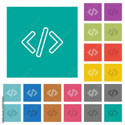 Obraz na plátně Script code square flat multi colored icons