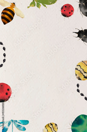 Insects watercolor border design on beige background Fotobehang