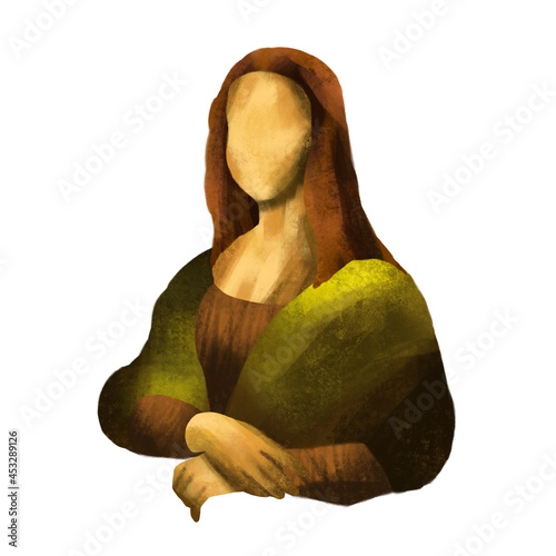 Obraz na plátně Stylized portrait of the Mona Lisa, bright and minimalist, painted with textured