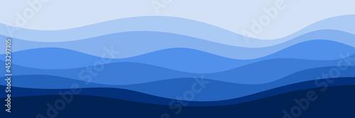 Fototapeta blue wave pattern vector illustration good for web banner, ads banner, tourism b