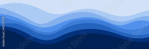 Valokuvatapetti blue wave pattern vector illustration good for web banner, ads banner, tourism b