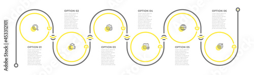 Business infographic template. Timeline process with icons and 6 options. Vector illustration.