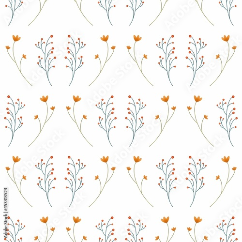 Murais de parede A pattern of branches, flowers, plants, isolated on a white background