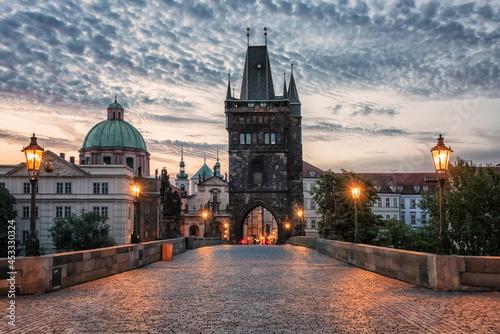 Charles Bridge in Prague at sunrise Fotobehang