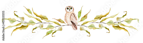 Foto Owl on branches of an autumn tree watercolor border