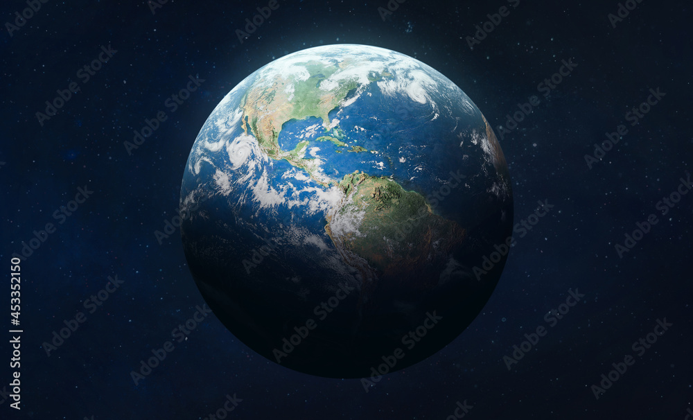 Earth planet in outer deep space. Orbit and atmosphere. Blue marble. Elements of this image furnished by NASA