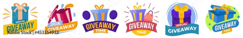 Foto Giveaway stickers or labels for social media post