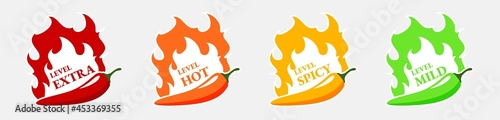 Foto Spicy hot chili pepper icons set with flame and rating of spicy Mild, medium hot
