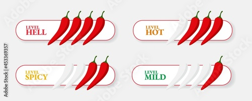 Fotografía Spicy hot chili pepper icons set with flame and rating of spicy Mild, medium hot