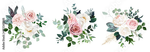 White peonies, blush and dusty pink roses, blooming freesia, eucalyptus, salal, pampas grass #453369968