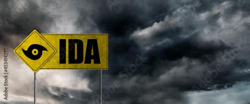 Fotografia Hurricane Ida banner with storm clouds background