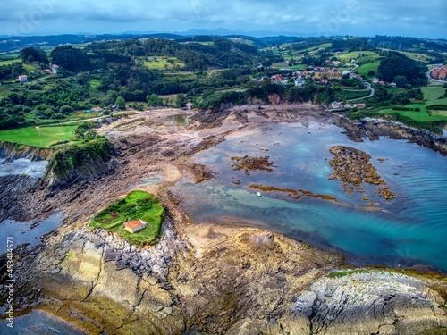 Hermitage located on an island off the coast of asturias, Spain, near Luanco.