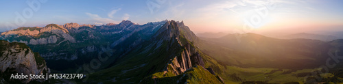 Obraz na płótnie Sunset in the mountains,Schaefler Altenalptuerme mountain ridge swiss Alpstein a