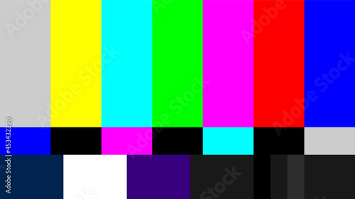 Fotografie, Obraz Widescreen HDTV 16x9 SMPTE color bars vector graphic for video and television br