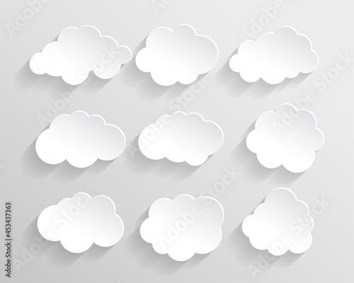 set of cloud in paper cut style Fotobehang