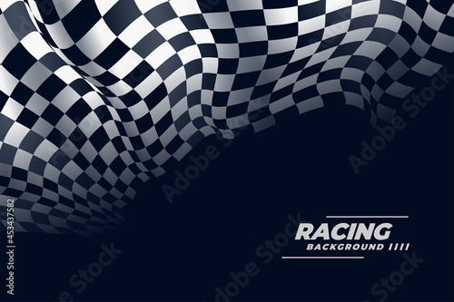 3d realistic checkered racing flag background Fototapet