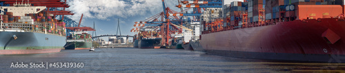 Fotografie, Obraz large container terminal in the port of hamburg in sunny weather