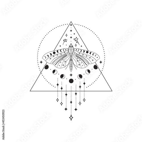 Fototapeta Divine Beauty Premade Logo Design. Black Butterfly