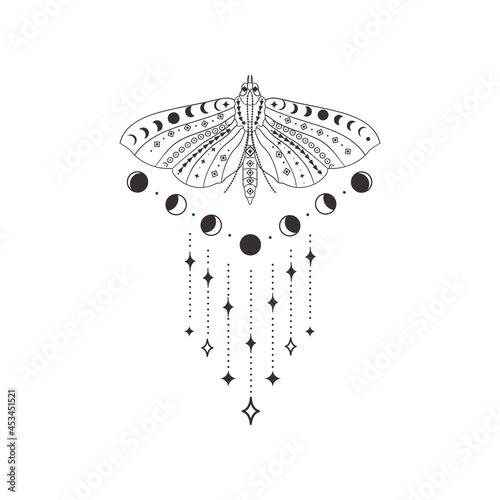 Divine Beauty Premade Logo Design. Black Butterfly Fototapet