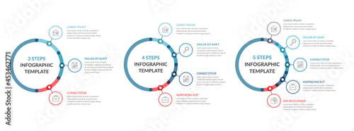 Fotografering Three infographic templates - 3, 4 and 5 steps or options, diagrams with icons a