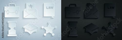 Fototapeta Set Graduation cap, Law book, Old hourglass, Hexagram sheriff, The arrest warrant and Briefcase icon