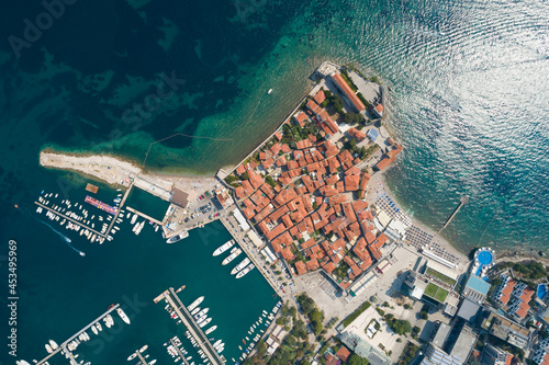 Photo Aerial View of Old Budva in Montenegro.