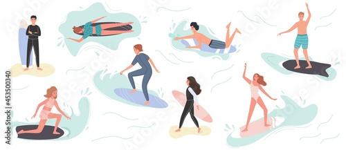 Fotografia Collection of cute surfing people in swimwear surfing