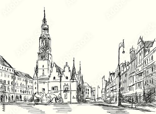 Fotografie, Obraz Rynek we Wrocławiu. Szkic odręczny miasta Wrocław