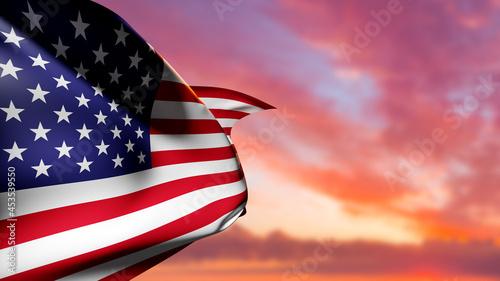 Canvas-taulu Waving USA flag