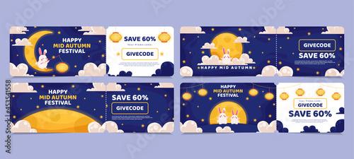 Fotografía Voucher discount sale Chinese Mid Autumn Festival design