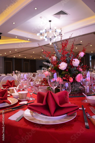 Wallpaper Mural luxury wedding rom banquet sit down buffet party catering with flower decoration