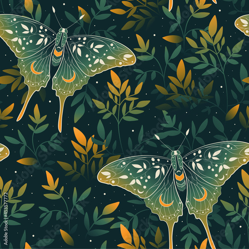 Fotografiet Vector seamless pattern with gold moon moth and stars