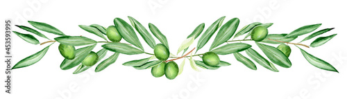 Green olive branches watercolor border. Template for decorating designs and illustrations.