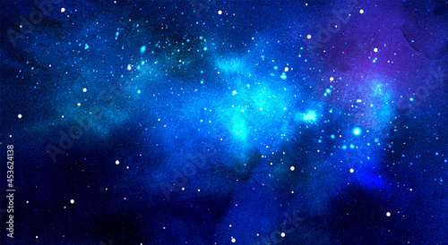 Vector cosmic illustration. Beautiful colorful space background. Watercolor